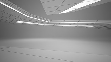 Abstract drawing white parametric interior. Polygon black drawing. 3D illustration and rendering.