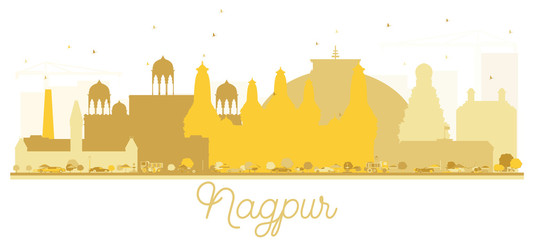 Nagpur India City skyline golden silhouette.
