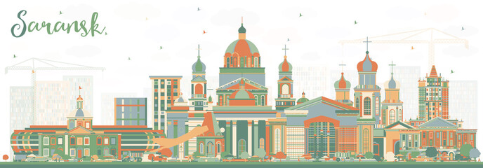 Saransk Russia City Skyline with Color Buildings.