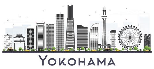 Yokohama Japan Skyline with Color Buildings Isolated on White.