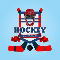 Hockey red helmet logo  eps 10 illustration