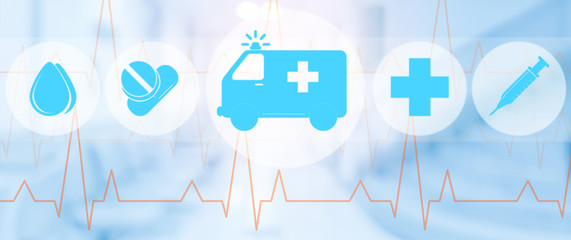 Ambulance and emergency icon on blue background