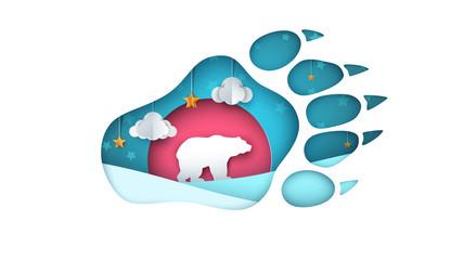 Bear illustration. Cartoon paper landscape. Vector eps 10