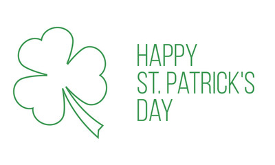 happy st. patrick's day, simple greetings card with clover leaf