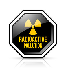 Black and yellow radioactive pollution sign with nuclear symbol on white background