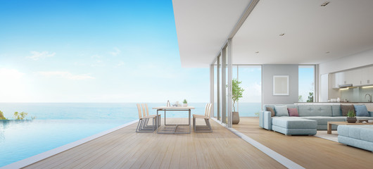 Wall Mural - Outdoor dining and sea view living room beside kitchen of luxury beach house with terrace near swimming pool in modern design. Vacation home or holiday villa for big family. Interior 3d illustration.