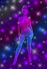 Mystical celestial naked woman in standing pose on starry night sky background