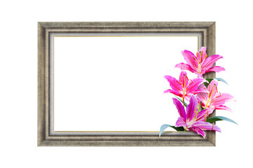 Wall Mural - vintage frame with lily flower