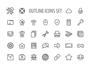 Outline Icons Set Vector Illustration