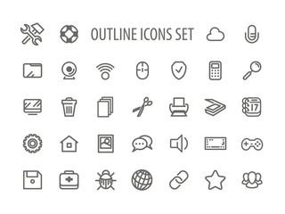Outline Icons Set Vector Illustration