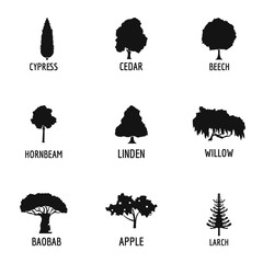 Wood industry icons set. Simple set of 9 wood industry vector icons for web isolated on white background