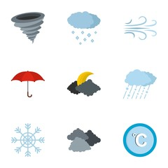 Meteorological office icons set. flat set of 9 meteorological office icons for web isolated on white background
