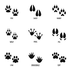 Paw icons set. Simple set of 9 paw vector icons for web isolated on white background