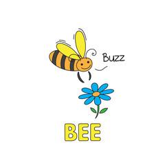 Cartoon Bee Flashcard for Children