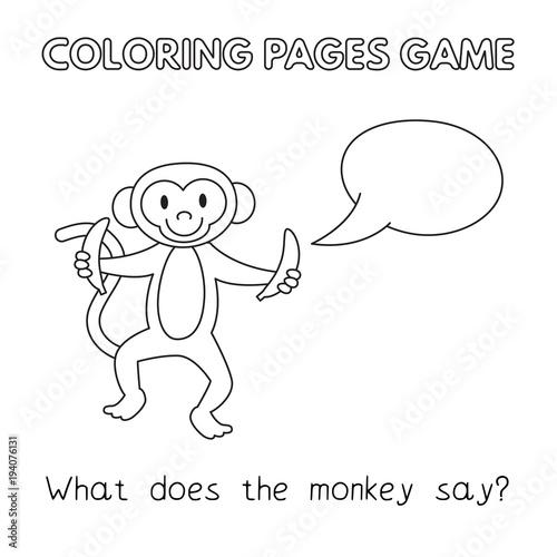 Cartoon Monkey Coloring Book\