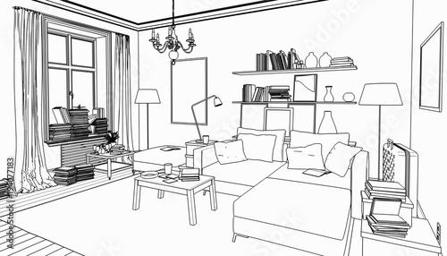 Bücher Im Wohnzimmer, Einrichtung Und Dekoration (Zeichnung)