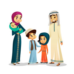 Arab Islamic family in traditional clothing vector illustration. Happy of father and mother parents, boy and girl children and baby isolated flat characters of Arabic country in Muslim culture clothes