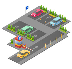 Parking lot isometric 3D vector illustration for construction design. Isolated section outdoor parking and checkpoint control barrier with parkomat and direction arrows marking