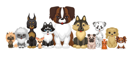Images of a cute purebred dogs in cartoon style. Vector illustrations isolated on white background.