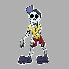 Hand drawn vector illustration. Zombie boy. Sticker. Cartoon patch badges.