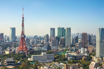 Türaufkleber Tokio Tokyo aerial view city skyline with Tokyo Tower, Tokyo, Japan