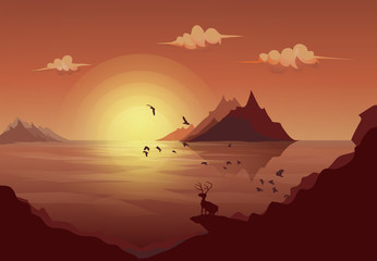 Deer standing on the rock looking at the landscape mountain island sea with sun and cloud along the flock of flying birds