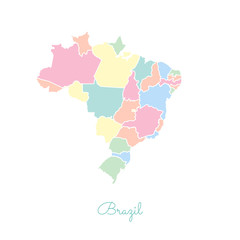 Brazil region map: colorful with white outline. Detailed map of Brazil regions. Vector illustration.