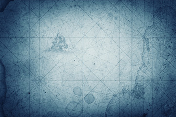 Fototapete - Pirate and nautical theme grunge map background.