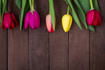 tulips on wooden surface with copy space