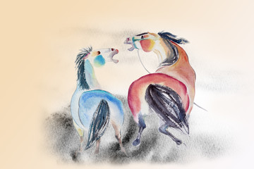 Abstract watercolor paintings of  horses