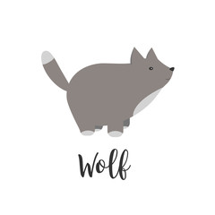 baby animal and hand letters. Greeting card with cute wolf. cartoon illustration of baby animals. Logo, badges, banners, emblem and design elements.
