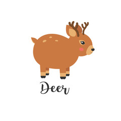 illustration of Cute baby deer cartoon. baby animal and hand letters. Greeting card with cute deer. Logo, badges, banners, emblem and design elements.
