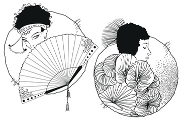 Girls with fan. Stock illustration.