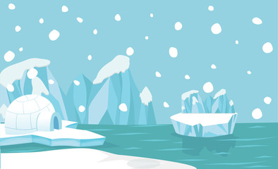 North pole Arctic landscape background