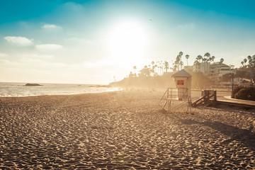 Laguna Beach lifeguard in sunset