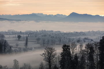Ice cold winter morning with fog and Mount Rigi in the background at sunrise in Central Switzerland