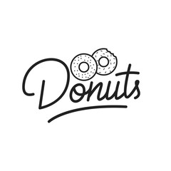 Donuts. Donuts lettering illustration. Donuts label badge emblem