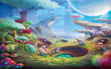 Alien Planet the Meteor Crafter with Fantastic, Realistic and Futuristic Style. Video Game's Digital CG Artwork, Concept Illustration, Realistic Cartoon Style Scene Design