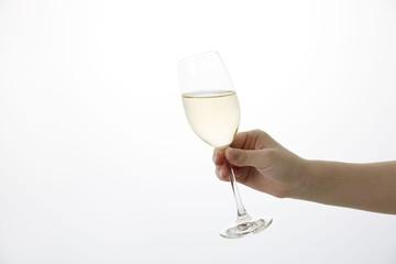 女性の手 シャンパン 乾杯 Champagne