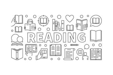 Reading books vector horizontal banner