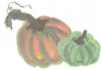 Figure gouache: yellow and green pumpkin.