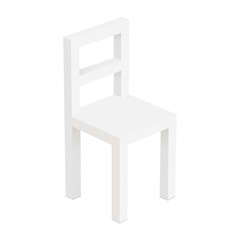 White small chair mockup isolated - high-angle view. Vector illustration