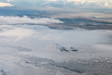 aerial view of Icelandic fields