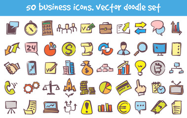 vector doodle business icons set