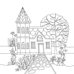 Coloring book with country house in garden. Vector illustration.