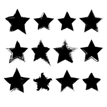 Collection of hand drawn stars