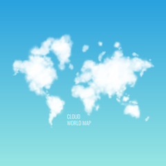 Clouds in the shape of a world map in the blue sky. Realistic illustration.