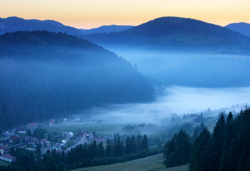 Meadow and hills at sunrise, Mlynky, Slovakia