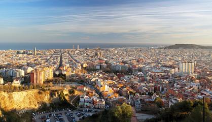 Barcelona skyline at sunset, Spain.