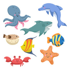 Sea animals cartoon set. Trendy design sea and ocean wildlife. Isolated vector illustration. Octopus, dolphin, shark, striped blue fish, blowfish , starfish and funny crab.